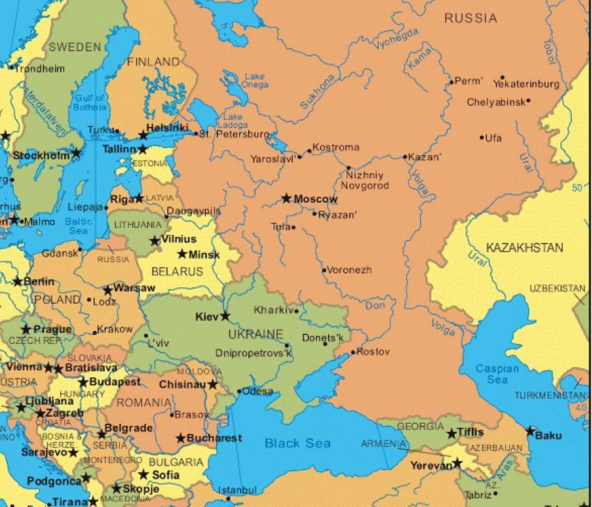 Harta Europei De Est și Rusia Europa De Est și Rusia Hartă